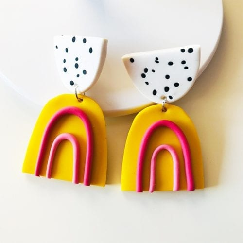 Creative Polka Dot Rainbow Polymeric Clay Earrings for Women Cute Fashion Handmade Soft Clay Dangle Earring Fashion Jewelry Gift
