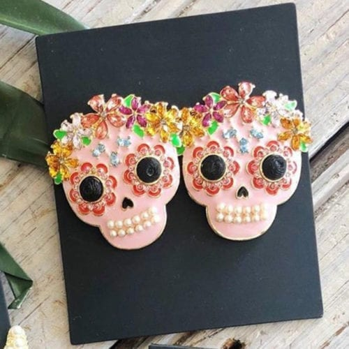 sugar skull earrings, halloween earrings